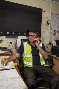 Employee on phone