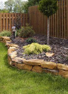 garden corner with stones